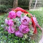 ช่อดอกพีโอนีสีชมพูบานเย็น ( Peonies )