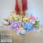 กระเช้าดอกไม้ แสดงความยินดี โทนสีสดใส ไซส์ XL