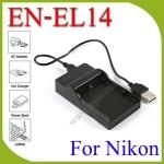 USB EN-EL14BatteryChargerแท่นชาร์จสำหรับแบตเตอรี่กล้องNikon EN-EL14a กล้องรุ่นD3200 D3300 D5200 D5300