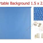 ฉากผ้าแบบติดผนังสีฟ้า 150x200cm. มาพร้อมขายึด+โซ่ม้วนผ้า(สามารถใช้งานได้ทันที)