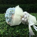 ช่อดอกไม้ ไฮเดรนเยีย ฟ้า-ชมพู พาสเทล (M)