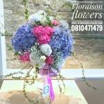 แจกันดอกไม้ สไตล์อังกฤษ ม่วง ชมพู ขาว โอกาสแสดงความยินดี