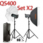 QS400 Set 400W X2 Professional Flash Godox Studio Kit ชุดแฟลชสตูดิโอ