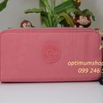 Kipling Uzario Shell Pink เป็นกระเป๋าสตางค์ใบยาวแบบ 2 ซิปรอบ ขนาด 10 L x 18.5 H x 3.5 W cm