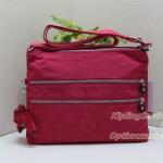 Kipling Alvar Flamboyant Pink จากเบลเยี่ยม กระเป๋าสะพายข้าง หลายช่องซิป ขนาด L32 x H 25 x D 4 cm