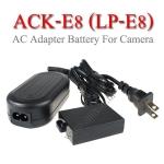 ACK-E8 AC Adapter Battery LP-E8 for Canon Camera 550D 600D 650D 700D แบตเตอรี่แบบเสียบปลั๊กไฟ