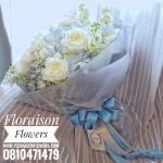 ช่อดอกไม้สีฟ้า กุหลาบขาว (L)