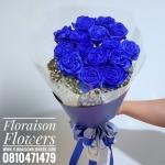 ช่อดอกกุหลาบ สีน้ำเงิน ห่อน้ำเงินเรียบหรู Limited Edition