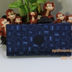 Kipling New Teddi Monkey Mania Blue หรือชื่อเดิม Brownie Monkey Mania Blue กระเป๋าสตางค์ใบยาว ขนาด 7.5x3.75x1xนิ้ว