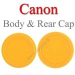 Yellow Color Body Rear Lens Cap For Canon ฝาปิดบอดี้และฝาปิดท้ายเลนส์แคนนอนสีเหลือง