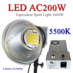 AC200W แสงสีขาว 5500K Opto LED With Dimmer 20000lm Sport Light equivalent 2000w ไฟLEDสปอร์ตไลท์