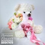 ตุ๊กตาหมี ช่อดอกไม้ โทนสีสดใส (L)