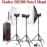 DE300 Set 300W X3 Flash Godox Studio Kit ชุดแฟลชสตูดิโอ