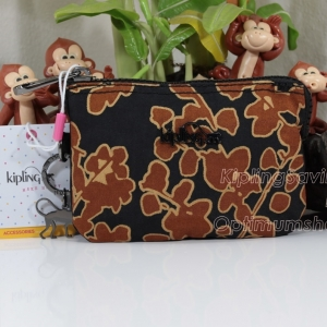 Kipling Creativity Floral Metallic กระเป๋าเอนกประประสงค์ขนาดเล็ก 3 ช่อง + 2ช่องเล็ก ขนาด 14.5 x 9.5 x5 cm