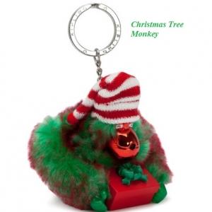Kipling Christmas Tree monkey keychain มาพร้อมกล่องพลาสติกใส ขนาด 4x3.25x2.25 นิ้ว