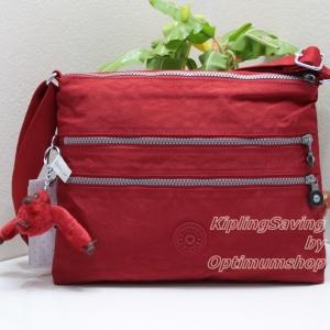 Kipling Alvar Cherry กระเป๋าสะพายข้าง หลายช่องซิป ขนาด L13 x H 10 x D 1.75 นิ้ว