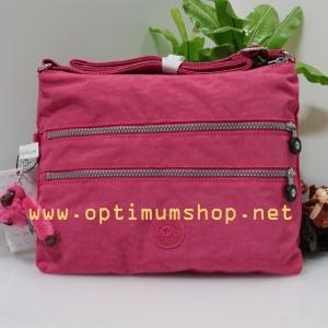 Kipling Alvar Vibrant Pink กระเป๋าสะพายข้าง หลายช่องซิป ขนาด L13 x H 10 x D 1.75 นิ้ว