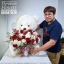 ตุ๊กตาหมีกอดตะกร้าดอกไม้ กุหลาบแดง ขาว (PREMIUM) thumbnail 4