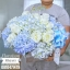 กล่องดอกไม้ สีฟ้า ขาว (L)