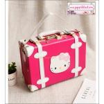"""กระเป๋าสะพายวินเทจสไตล์เกาหลี KITTY ดีไซน์วินเทจแบ๊ว สำหรับสาวกคิตตี้โดยเฉพาะเลยค่า มี 3 ไซส์ 12"""", 14"""" และ 15"""" สีชมพูเข้มคาดขาว """"RED ROSE/WHITE"""" Beauty Bag Vintage Korea Style (Pre-order ราคาสินค้าอยู่ด้านใน)"""